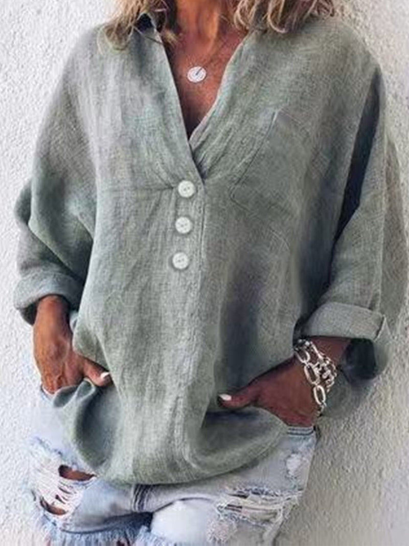 Solid Color Casual Linen With Button Placket and Shirt Collar Blouse