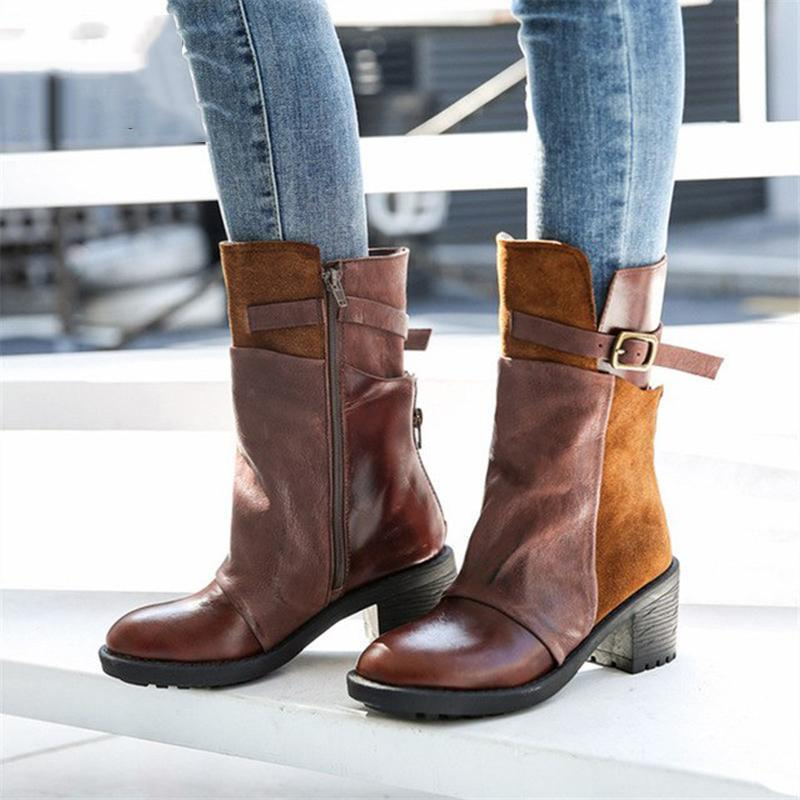 Chunky Heel Buckle Short Boots Round Toe Zipper Boots