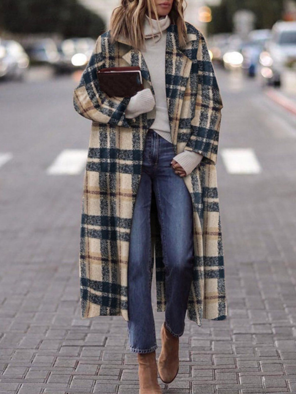Black Long Sleeve Pockets Checkered/plaid plus size Outerwear