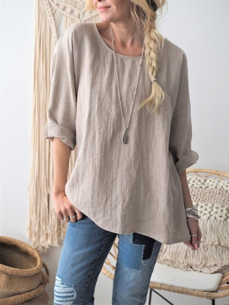 Women Round Neck Solid Loose Slope Hem Linen Blouse