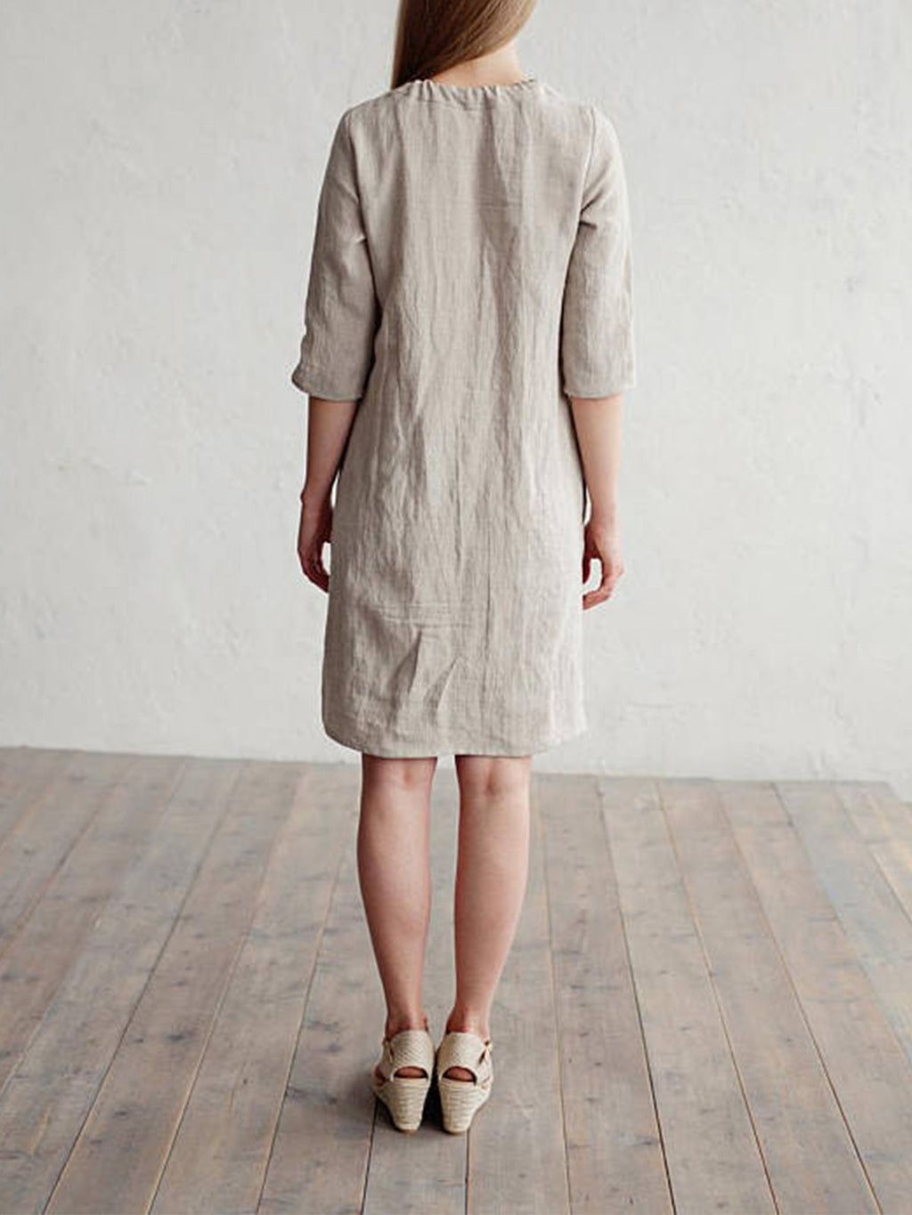 Bow Trim Gathering Neck Solid Linen/Cotton Half Sleeve Dress