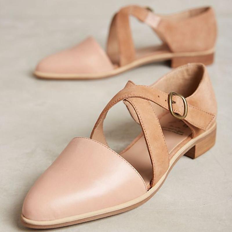 Velvet Point Toe Color Block Low Heels Buckle Ladies Sandals