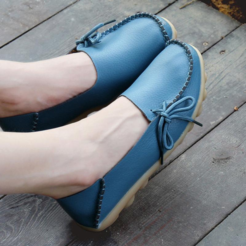 Lightblue PU Flat Non-slip Bow-trim Flat Shoes