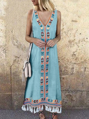 Holiday Style V Neck Fringe Printed Vest Dress