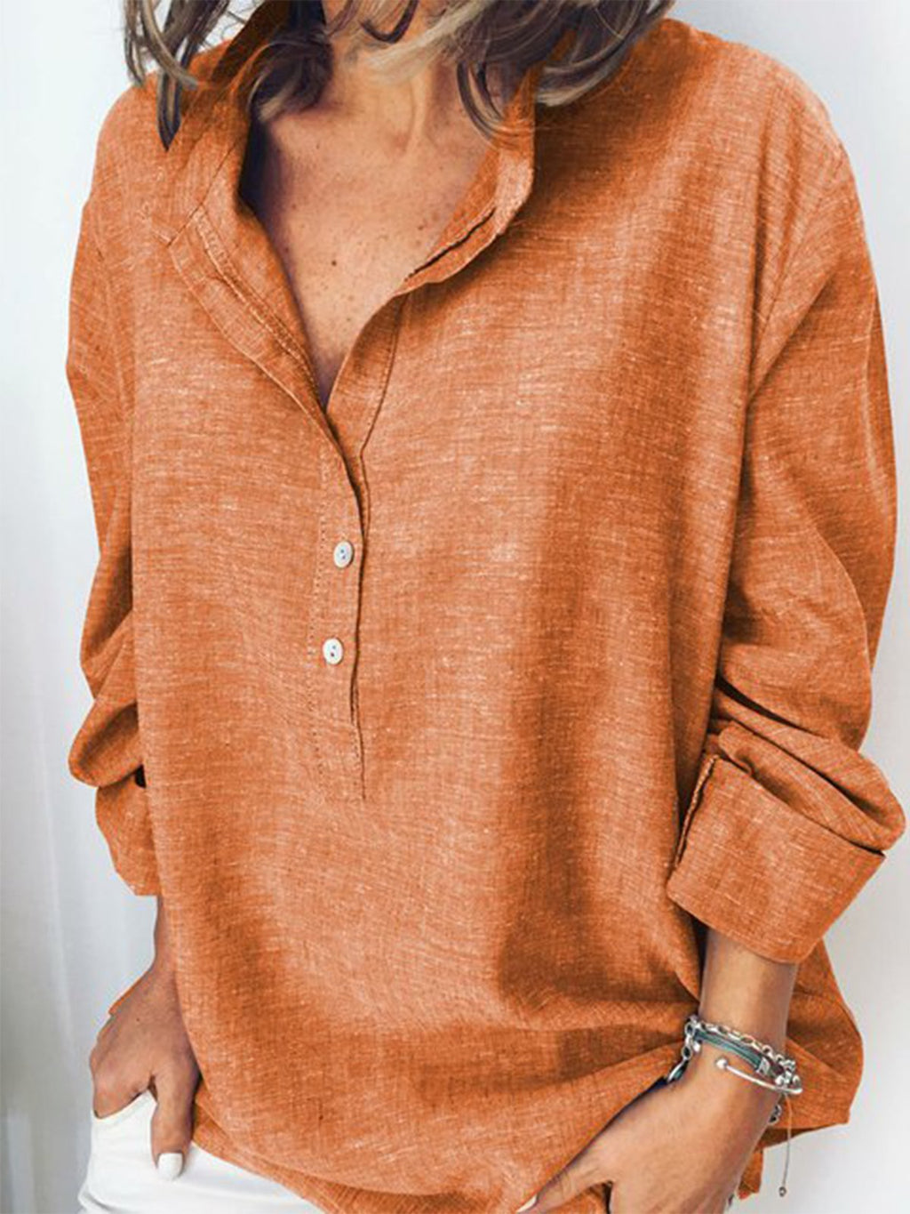 Solid Turn-down Collar Linen/Cotton Long Sleeve Shirt