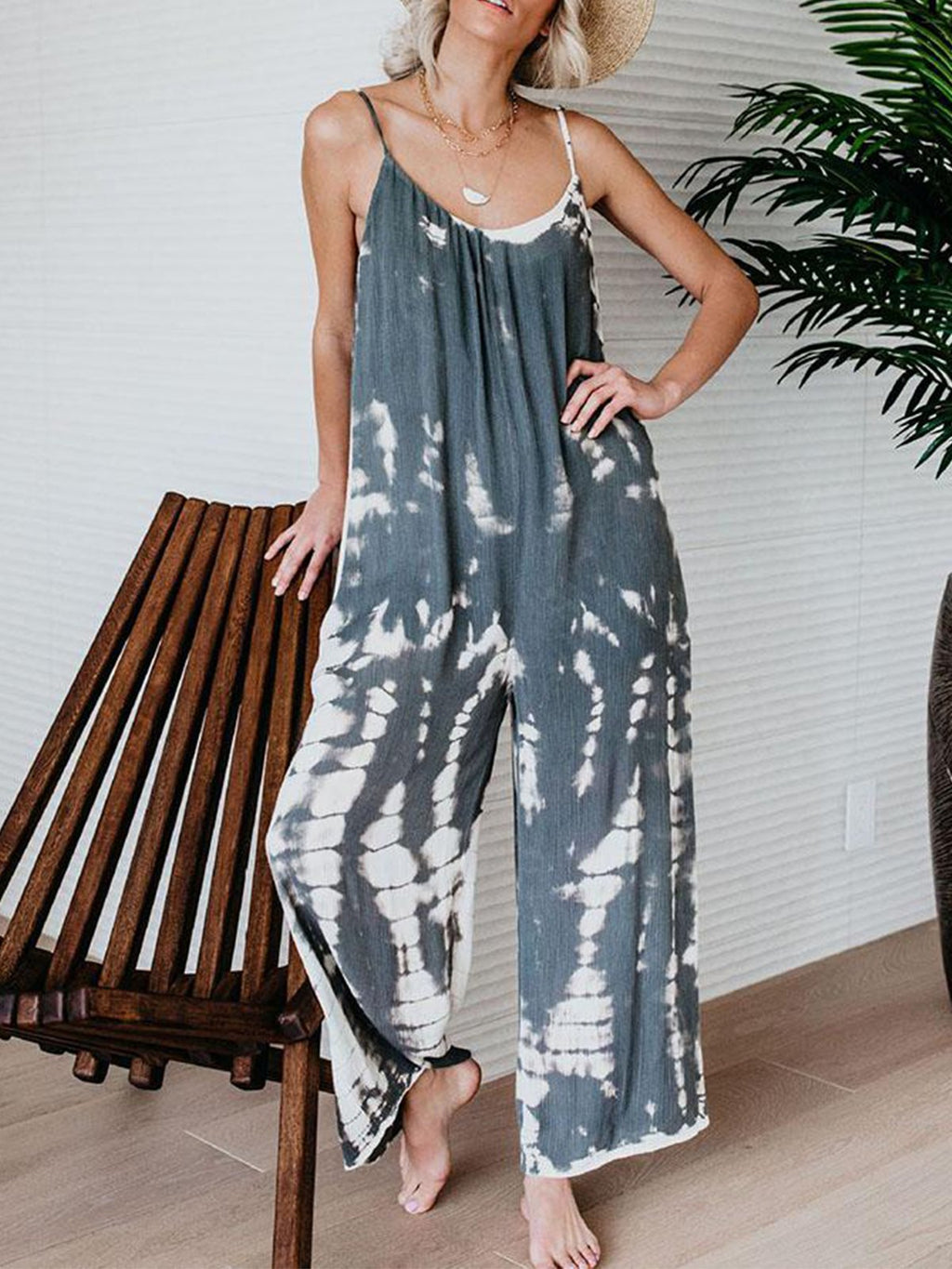 Printed Casual Spaghetti Jumpsuits