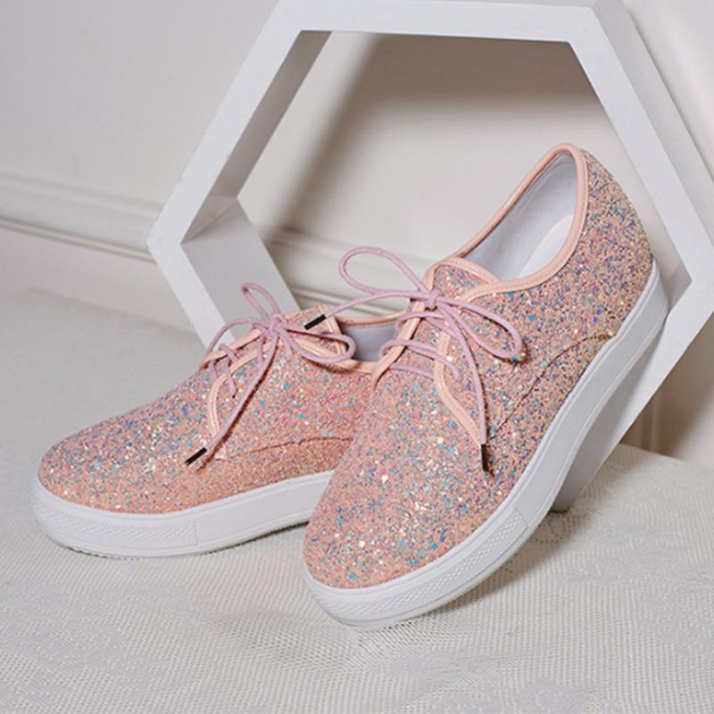 Shine Sequin Upper Lace-Up Flat Platforms Shoes