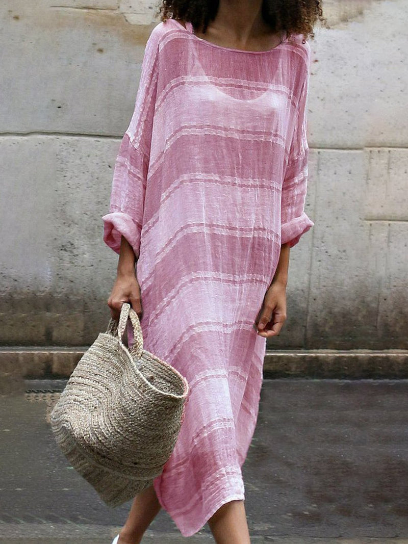 See-throught Striped Long Sleeve Round Neck Dress