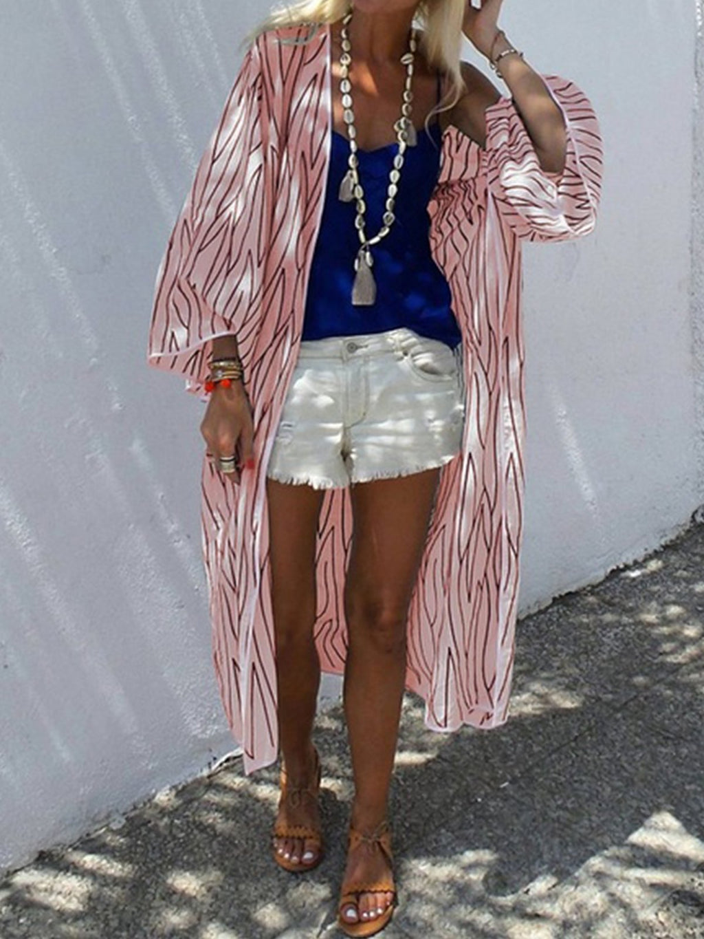 Stripe Print Sun-proof Summer Cardigan