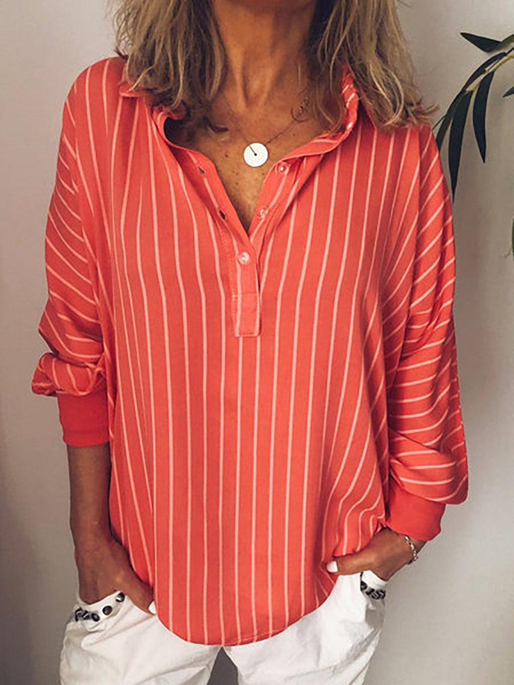 Pin Stripe Long Batwing Sleeve Loose Shirt