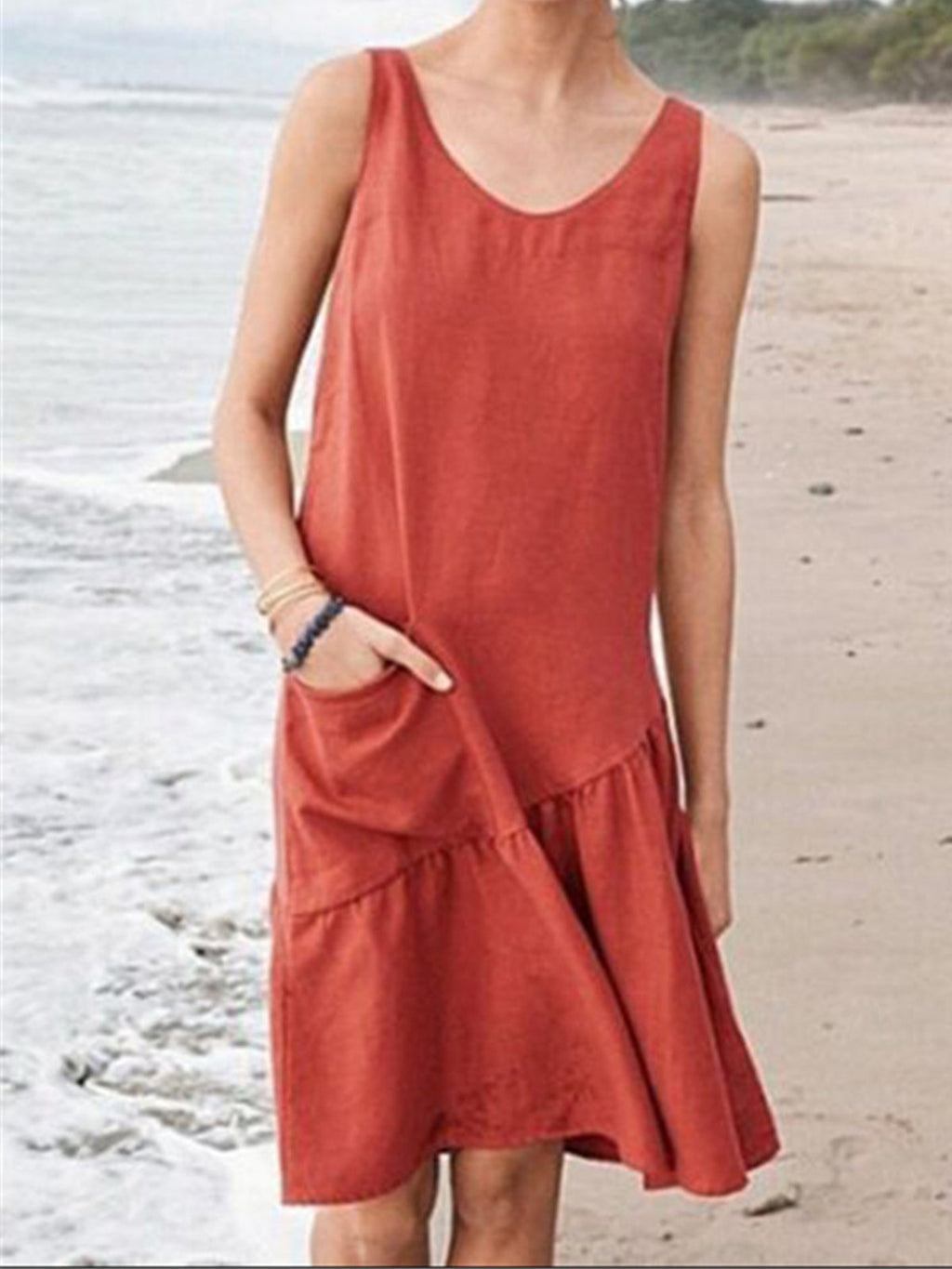 V Neck Patchwork Pocket Slope Gathering Hip Yoke Linen Dress