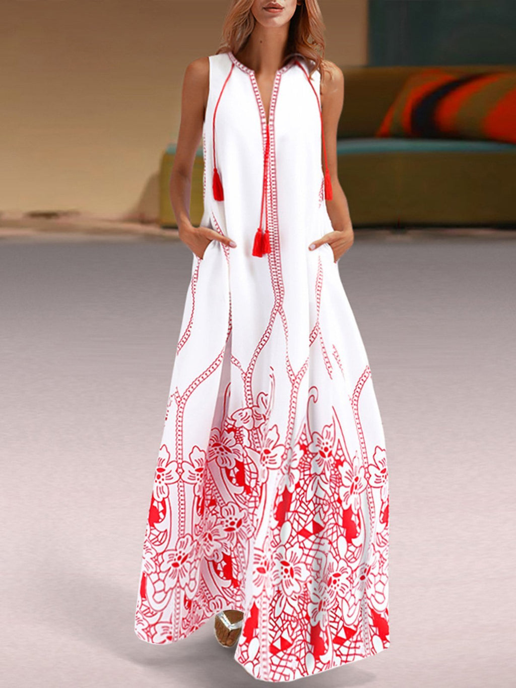 White Printed Holiday Long Maxi Dress