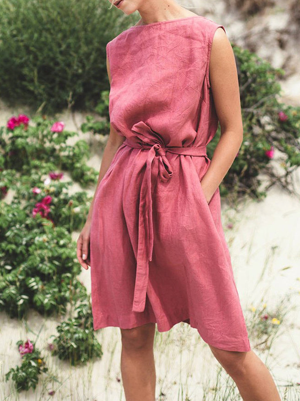 Women Solid Sleeveless Self-tied Linen Dress