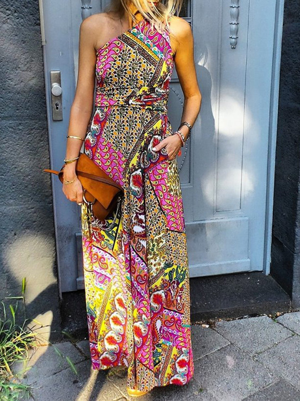 Single Shoulder Bohemia Print Sleeveless Maxi Dress