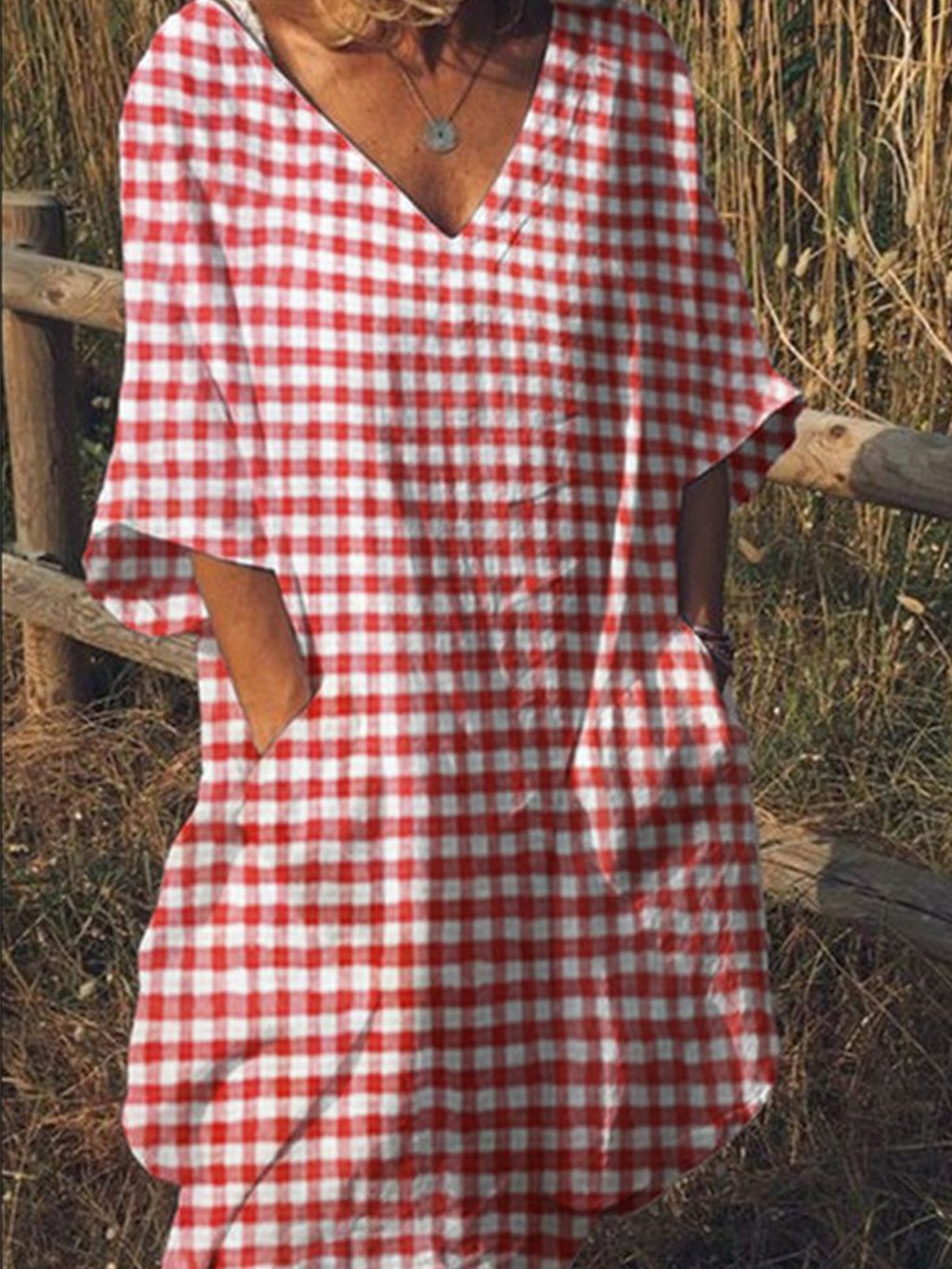 Gingham Print V Neck Half Sleeve Dress