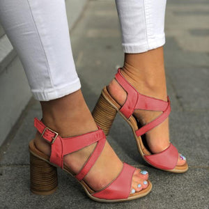 Summer Women High Chunky Heels Crisscross Buckle Sandals