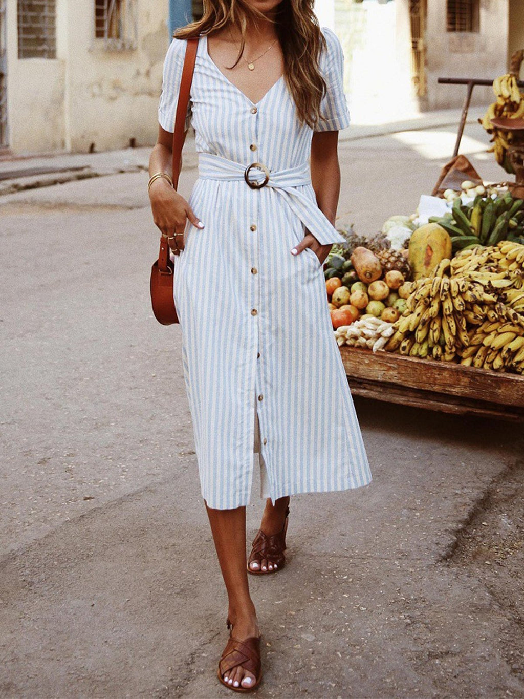 Striped Button Down Self-tied Buckle Waist Dress