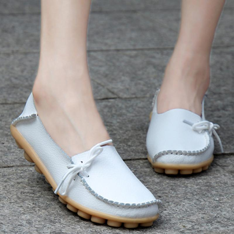 White PU Flat Non-slip Bow-trim Flat Shoes