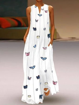 Colorful Butterfly White V Neck Sleeveless Pocket Maxi Dress