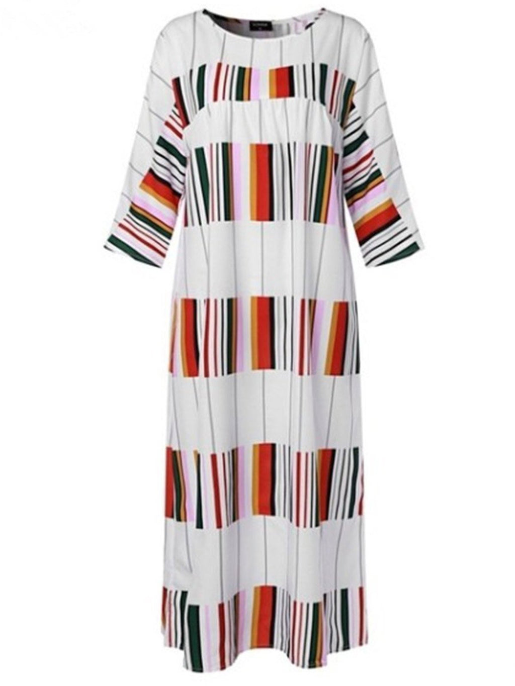 Wide Colorful Striped Print Maxi 3/4 Sleeve Dress