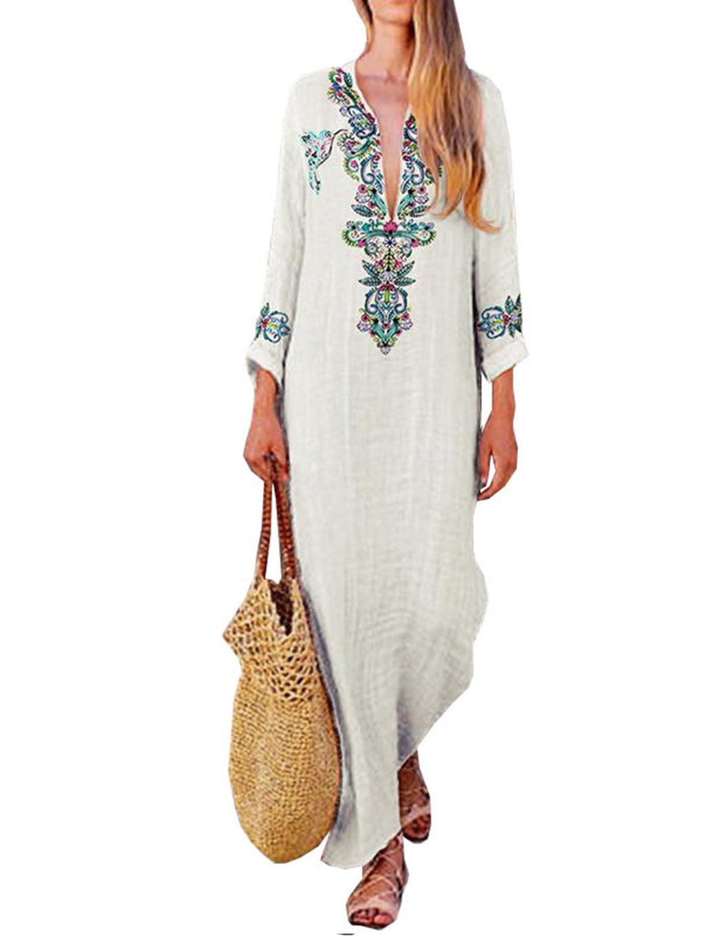 Linen/Cotton V Neck Print Long Sleeve Flok Style Maxi Dress