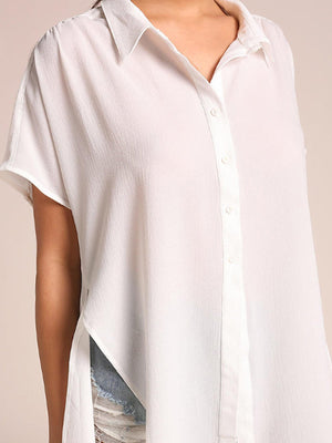 Loose Solid Side Slit Button Closure Chiffon Shirt