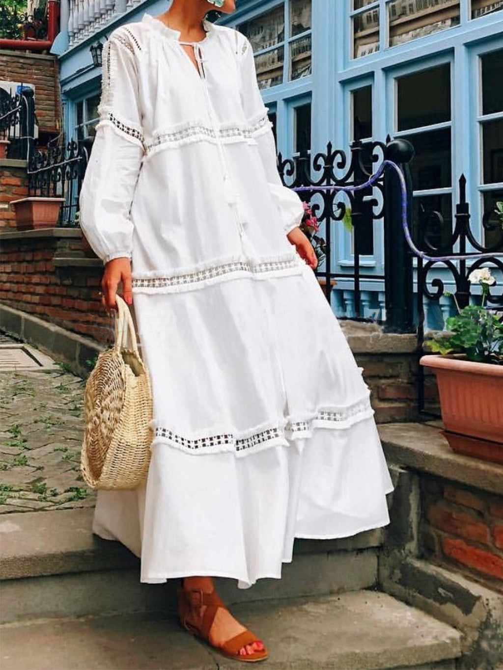 Lace Joint Long Sleeve V Neck Hollow Maxi Dress