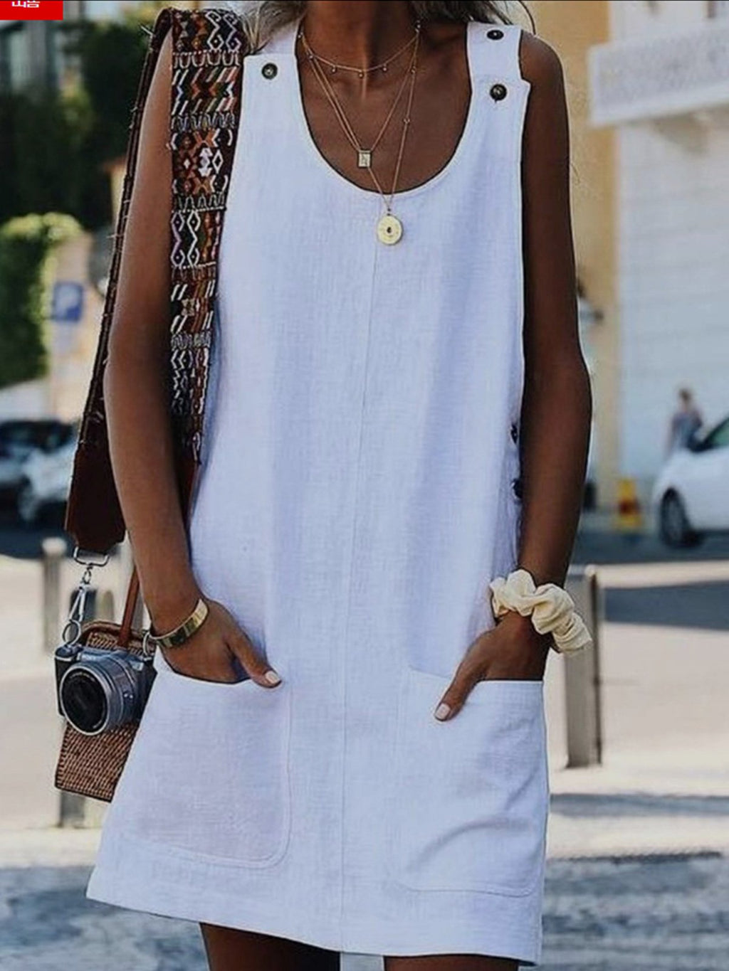 Solid Pocket Buttoned Strap Vest Dress