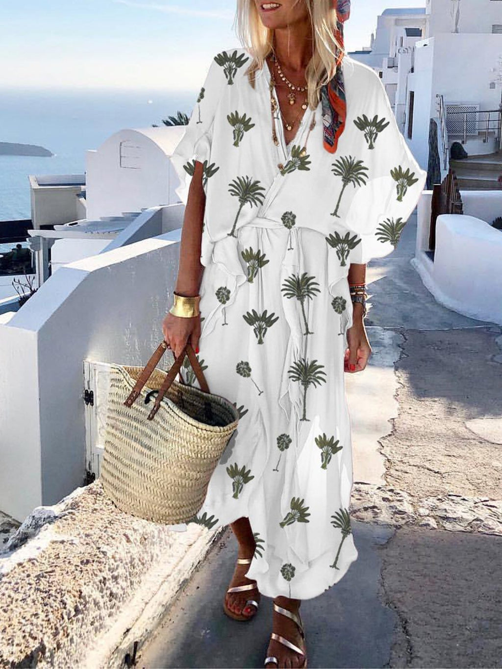 Loose Plant Print V Neck Light-weight Dress