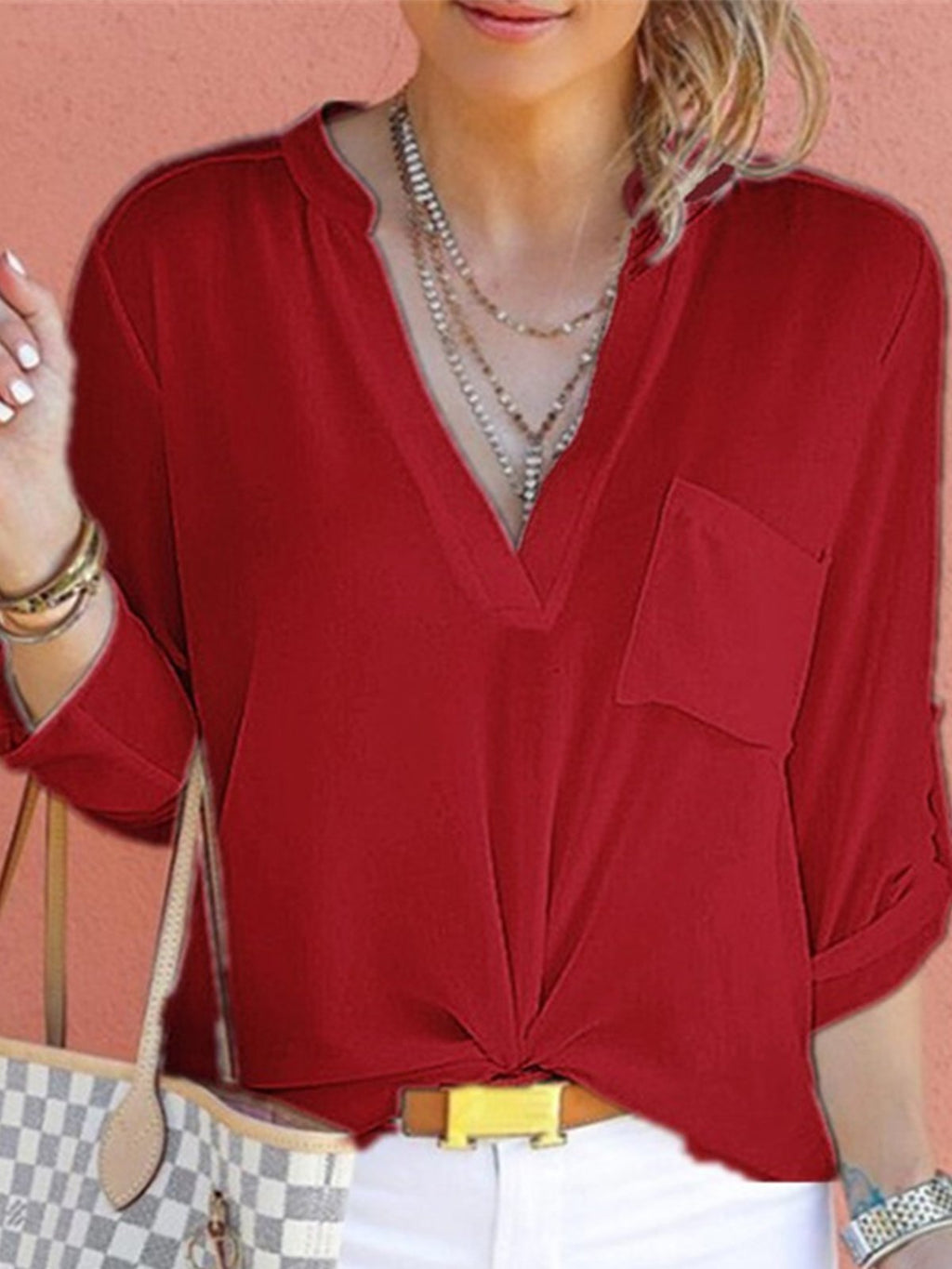 V Neck Stand Collar Solid Chiffon Pocket Long Sleeve Shirt