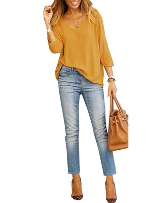 Crop-length-sleeve Loose Casual V Neck T-shirt