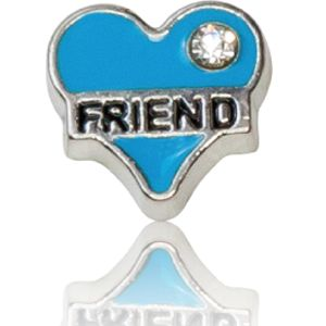 """FRIEND"" BLUE HEART WITH CRYSTAL"