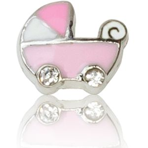 BABY CARRIAGE WITH CRYSTAL (PINK)
