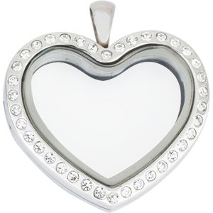 SILVER HEART WITH CRYSTAL STAINLESS STEEL