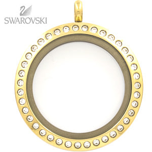 GOLD SWAROVSKI CRYSTAL LOCKET