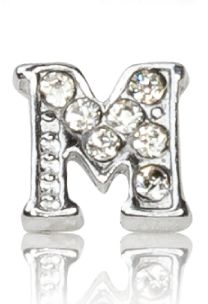 "ALPHABET ""M"" WITH CRYSTAL"