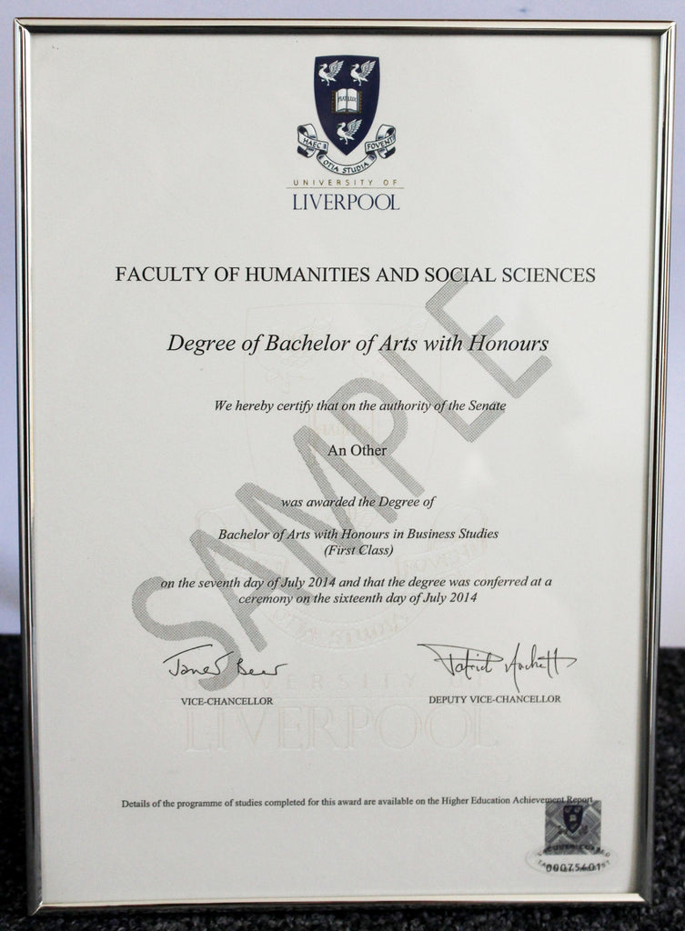 University Of Liverpool Shop Boxed A4 Certificate Frame