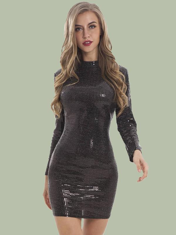 women long sleeve sequined sexy bodycon dress