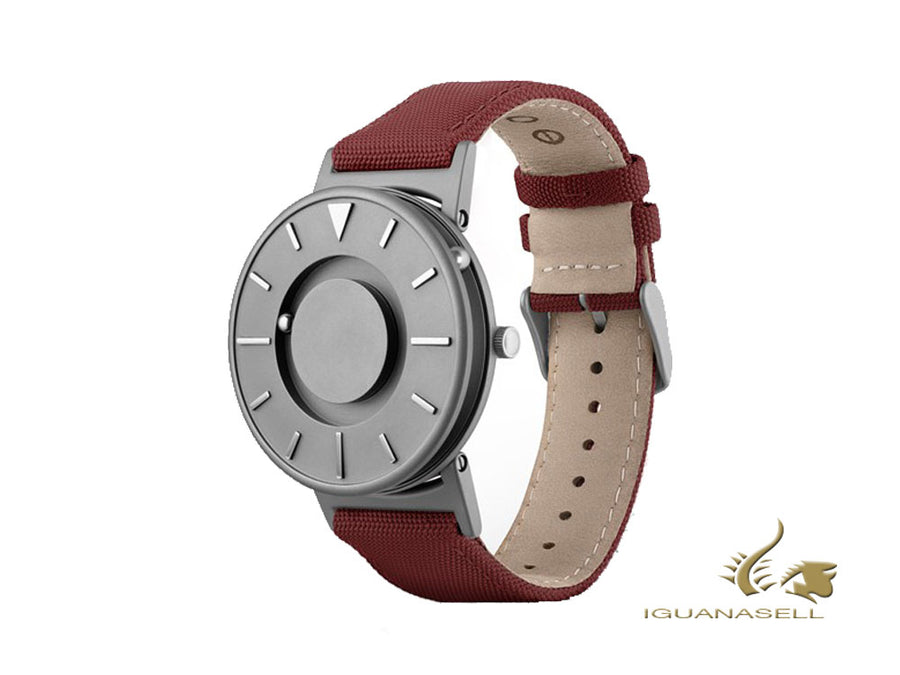 Eone Bradley Canvas Crimson Quartz Uhr, 40 mm, Grau, Lederband, BR-C-RED