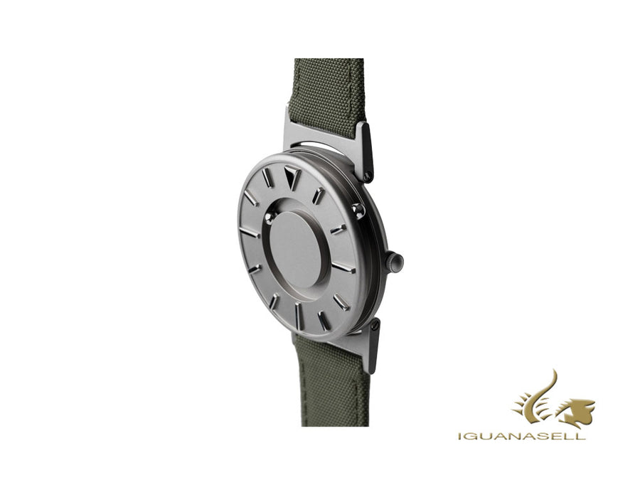 Eone Bradley Canvas Olive Quartz Uhr, 40 mm, Grau, Lederband, BR-C-GREEN