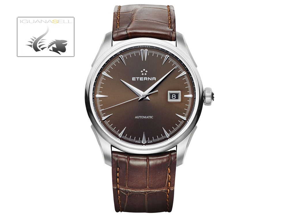 Eterna Heritage 1948 Legacy Date Automatik Uhr, SW 300-1, 41,5mm, 5 atm, Braun