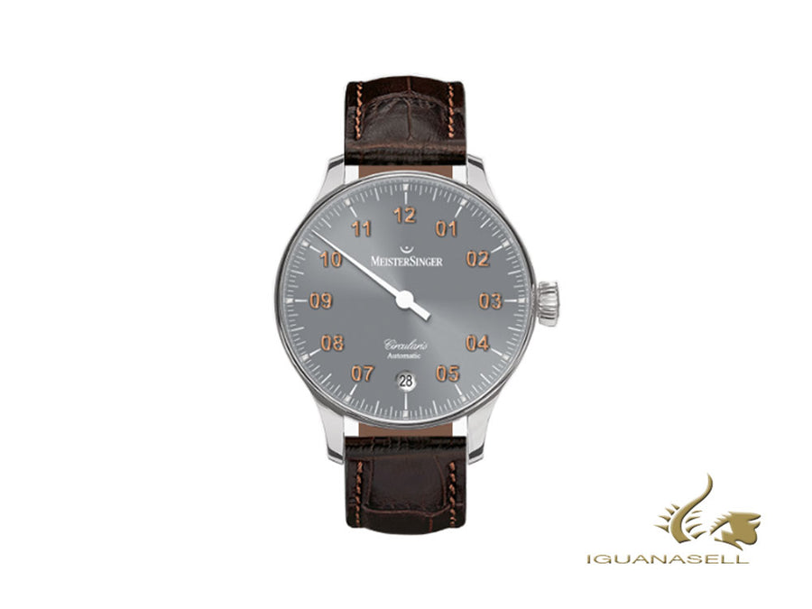 Meistersinger Circularis Automatic Sunburst Medium Grey Uhr, MSA01, 43 mm