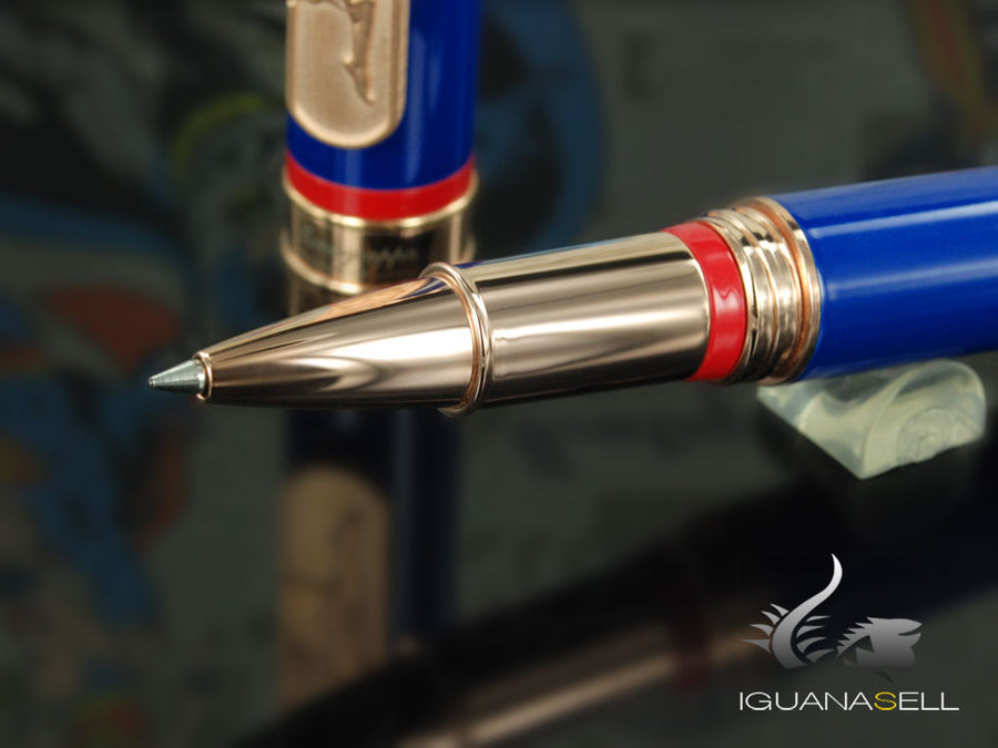 Montegrappa DC-Comics Superman Roller, Emaille, Roségold Beschläge, ISDCSRYB