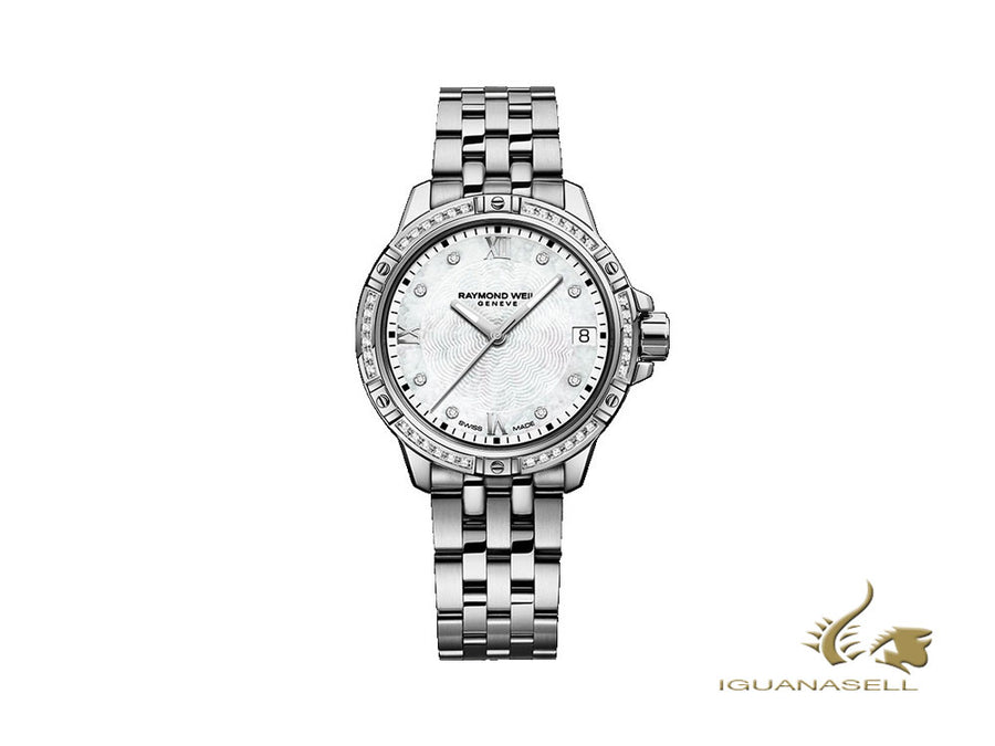 Raymond Weil Tango Ladies Quartz Uhr, 44 Diamanten, Perlmutt, 30mm, Tag