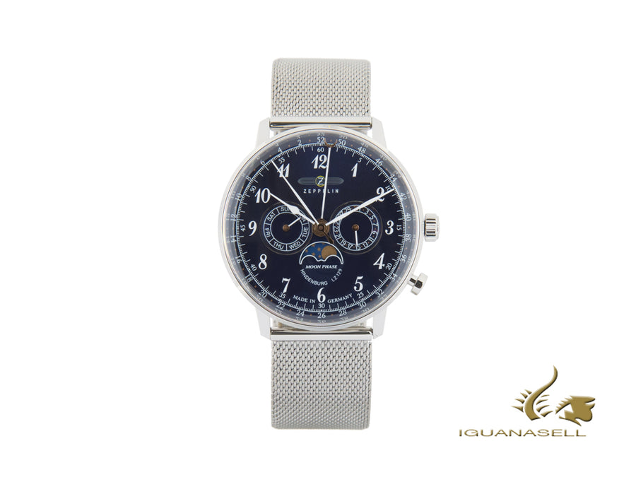 Zeppelin LZ 129 Hindenburg Moonphase Quartz Uhr, Blau, 40 mm, 7036M-3