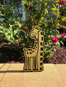 Custom Birchwood Personalized Decor - Wood Sign - Child's Bedroom or Playroom Sign - Giraffe