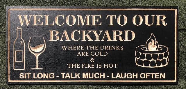 Backyard Sign | Wood Engraved Bar & Grill Sign | Fire Pit Sign | Personalized Outdoor Sign | Custom Plaque
