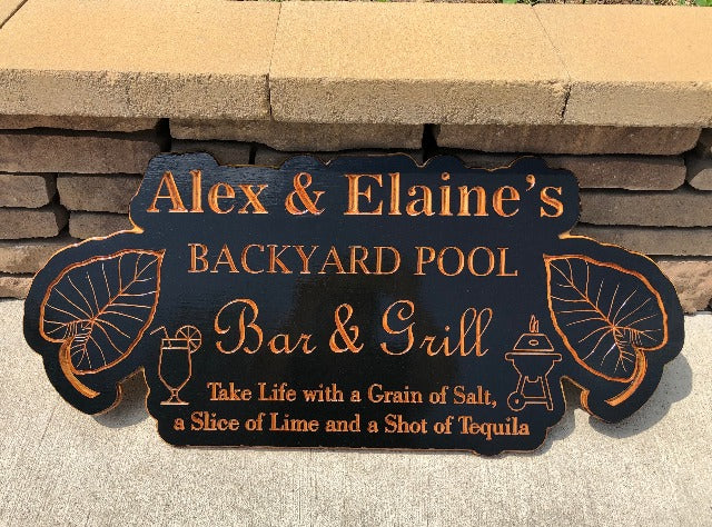 Backyard Sign | Wood Engraved Bar & Grill Sign | Personalized Outdoor Sign | Custom Plaque