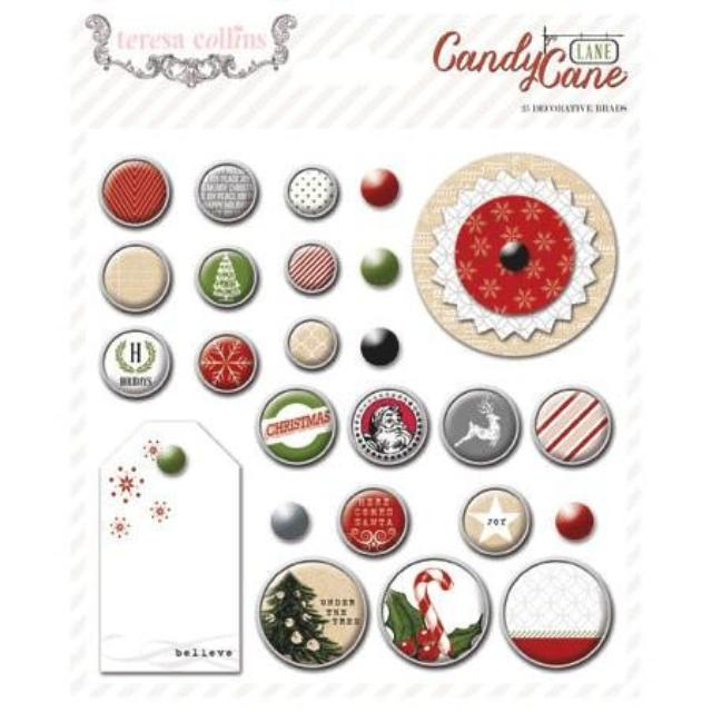 Teresa Collins - Candy Cane Lane Collection - Christmas - Decorative Brads