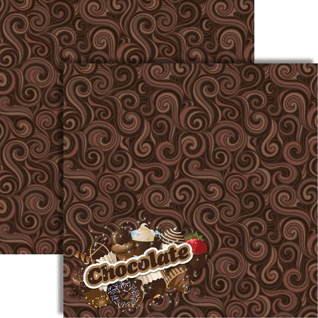 Reminisce - Candy Shoppe Collection - 12 x 12 Double Sided Paper - Chocolate Candy